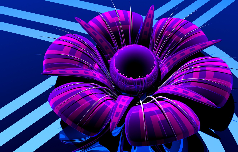 Photo wallpaper flower, glass, petals, plastic, the volume