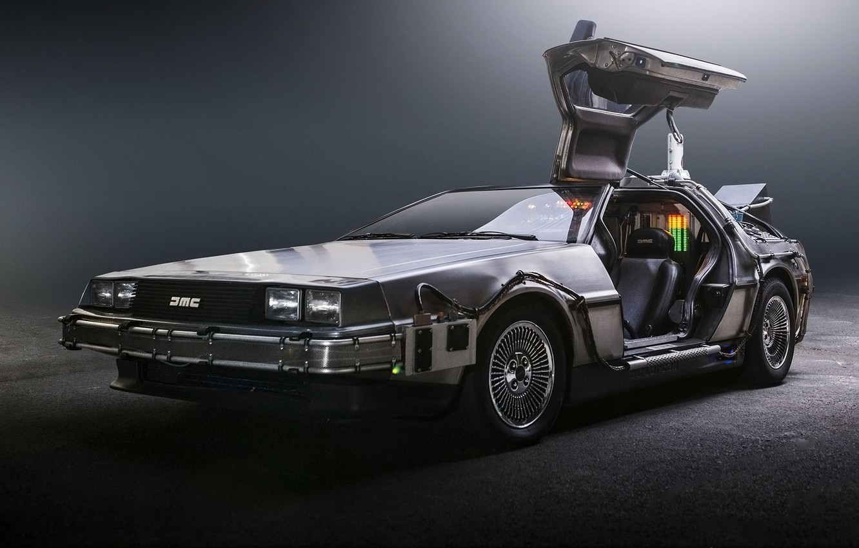 Photo wallpaper background, the door, Back to the future, The DeLorean, DeLorean, DMC-12, the front, Back to …
