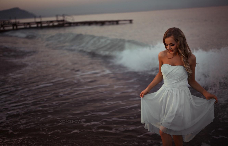 Photo wallpaper Girl, Beautiful, Model, Water, White, Beauty, Sea, Fashion, Dress, Mary Jane, Gorokhov
