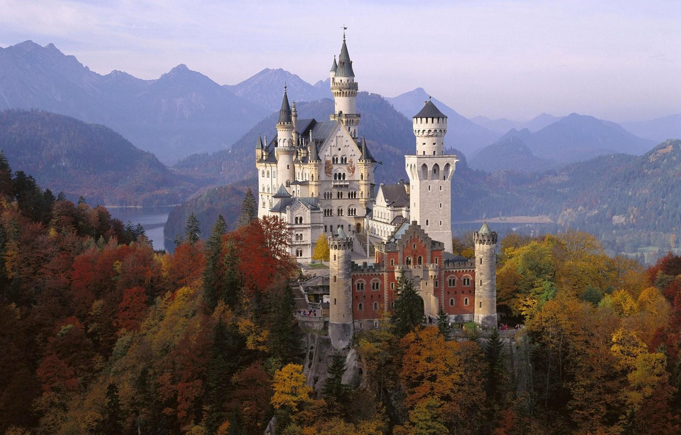 Photo wallpaper autumn, castle, Germany, Bayern, Neuschwanstein, Neuschwanstein