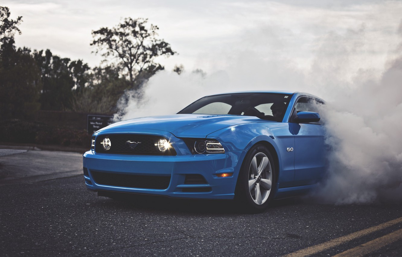 Photo wallpaper Mustang, Ford, Blue, 5.0, Smoke, Muscle Car