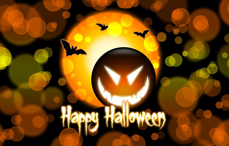 Photo wallpaper circles, the inscription, pumpkin, Halloween, halloween, bats, happy Halloween