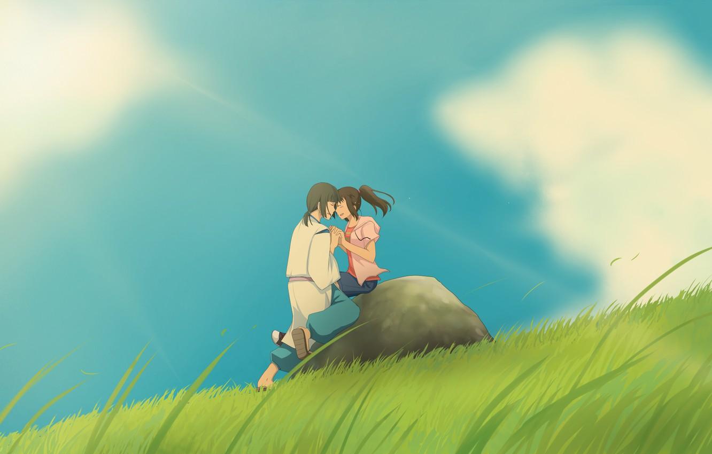 Photo wallpaper girl, clouds, nature, anime, art, guy, Hayao Miyazaki, spirited away, Chihiro, Haku, the spirit of …
