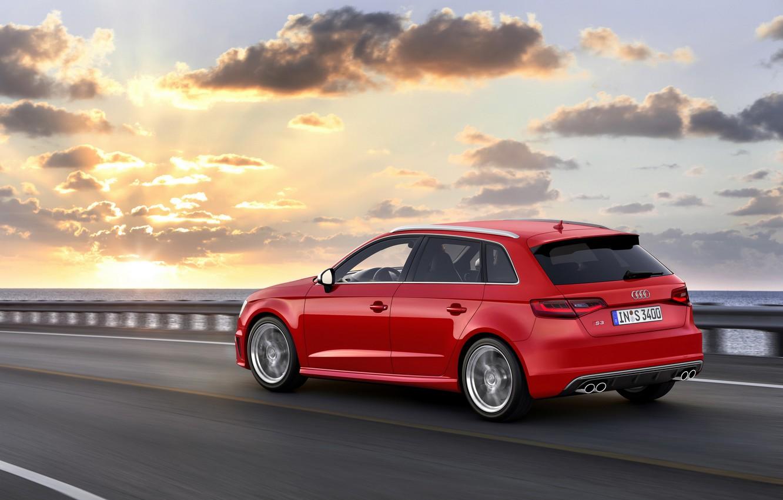 Photo wallpaper road, the sky, asphalt, clouds, sunset, red, photo, Audi, dawn, Audi, car, Sportback, 2013