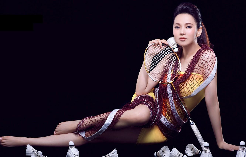 Photo wallpaper girl, mesh, racket, Asian, birdies