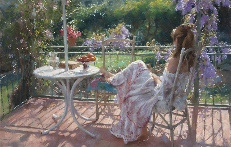 Photo wallpaper girl, flowers, stay, picture, garden, book, fruit, Sunny, veranda, Vicente Romero Redondo