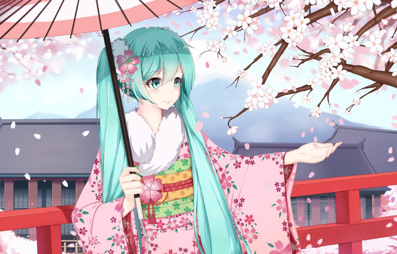 Photo wallpaper girl, smile, umbrella, anime, petals, Sakura, art, kimono, vocaloid, hatsune miku, sugar sound