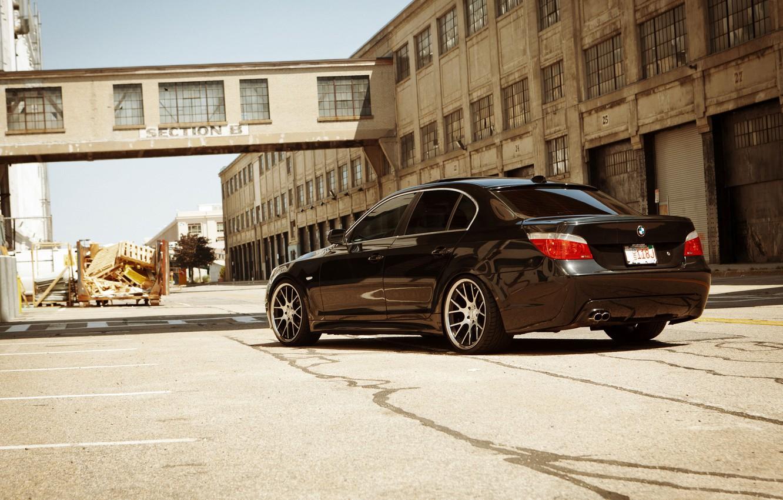 Photo wallpaper black, BMW, BMW, black, the rear part, E60, 5 Series