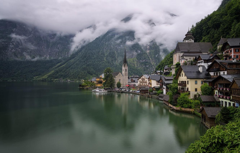Photo wallpaper forest, mountains, lake, shore, home, Austria, Hallstatt