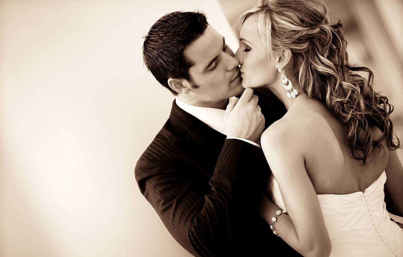 Photo wallpaper love, mood, romance, feelings, kiss, dress, pair, costume, relationship, the bride, wedding, the couple, the …