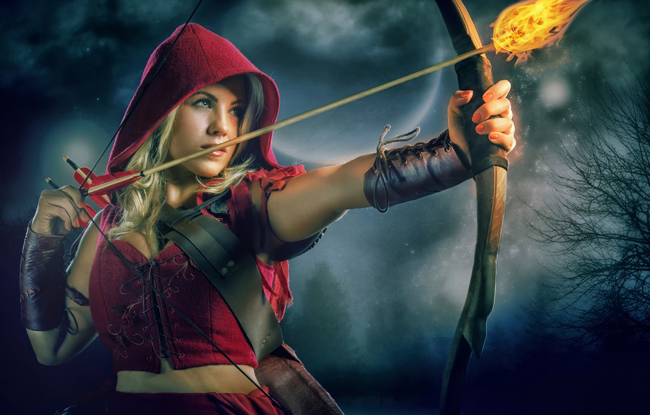 Photo wallpaper fire, little red riding hood, bow, arrow, Red Riding Hood, Theresa Louise