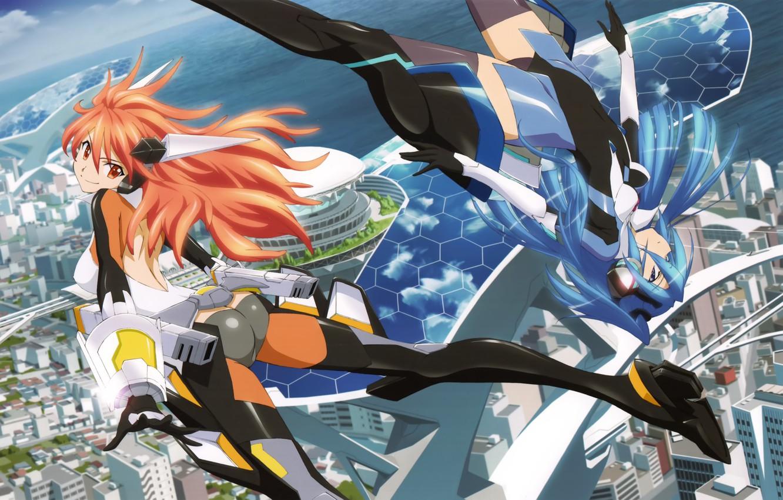 Photo wallpaper the sky, clouds, the city, smile, girls, the ocean, home, anime, art, senki zesshou symphogear, …