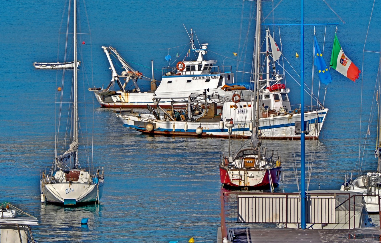 Photo wallpaper sea, boat, yacht