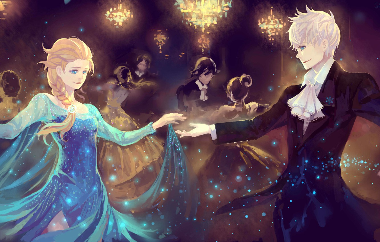 Wallpaper Girl Lights Beauty Dance Art Pair Frozen Guy