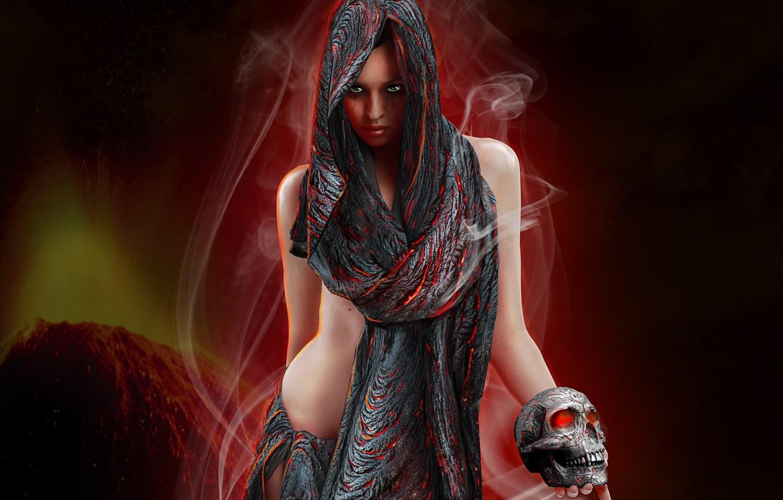 Photo wallpaper eyes, look, girl, face, fiction, smoke, skull, hands, art, fabric, shawl