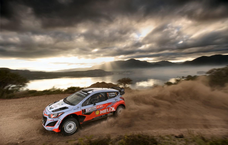 Photo wallpaper Mountains, Lake, Clouds, Hyundai, WRC, Rally, Rally, i20, Neuville