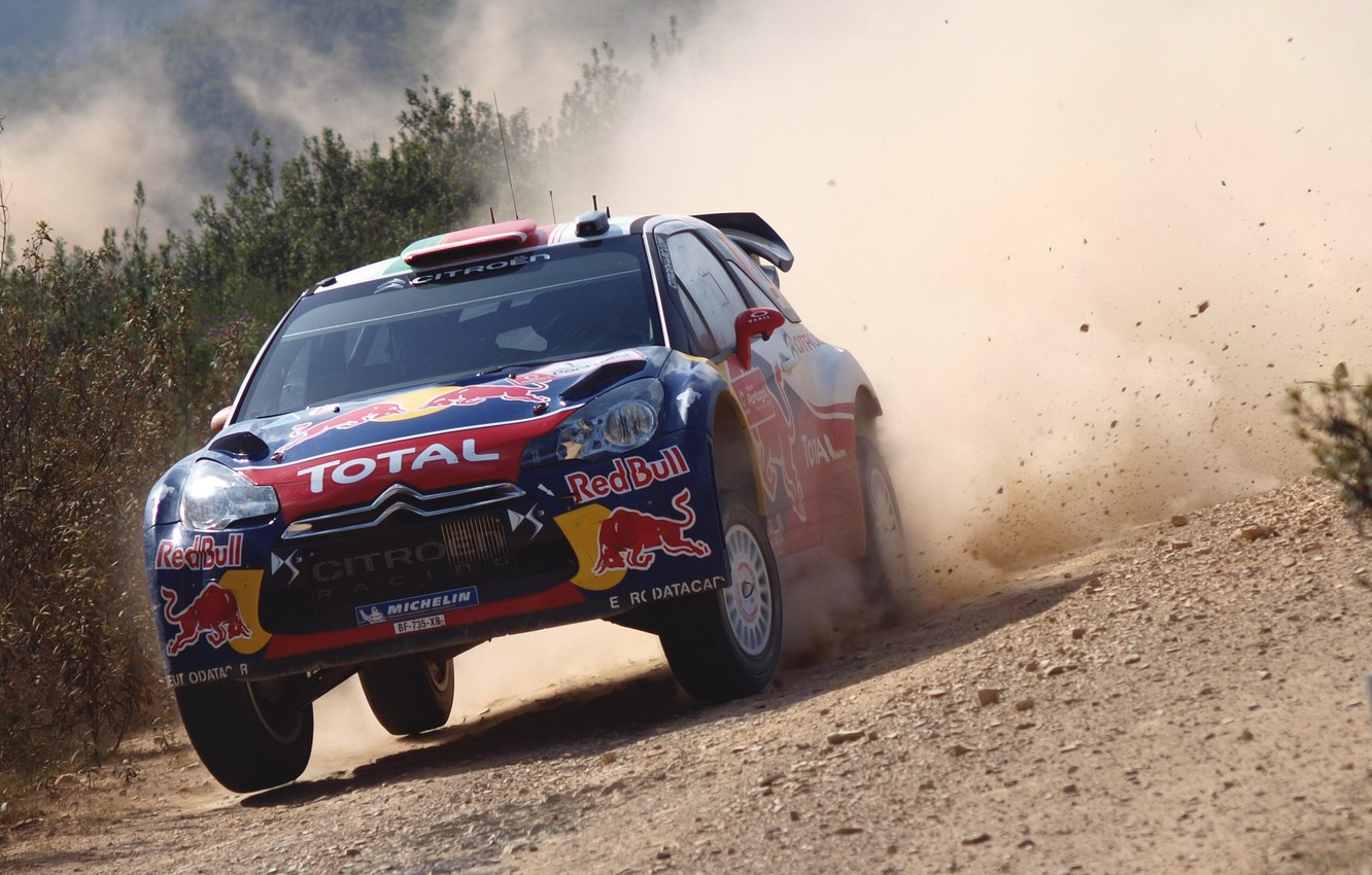 Photo wallpaper Auto, Dust, Sport, Machine, Speed, Day, Citroen, Car, Red Bull, DS3, WRC, Rally, Rally
