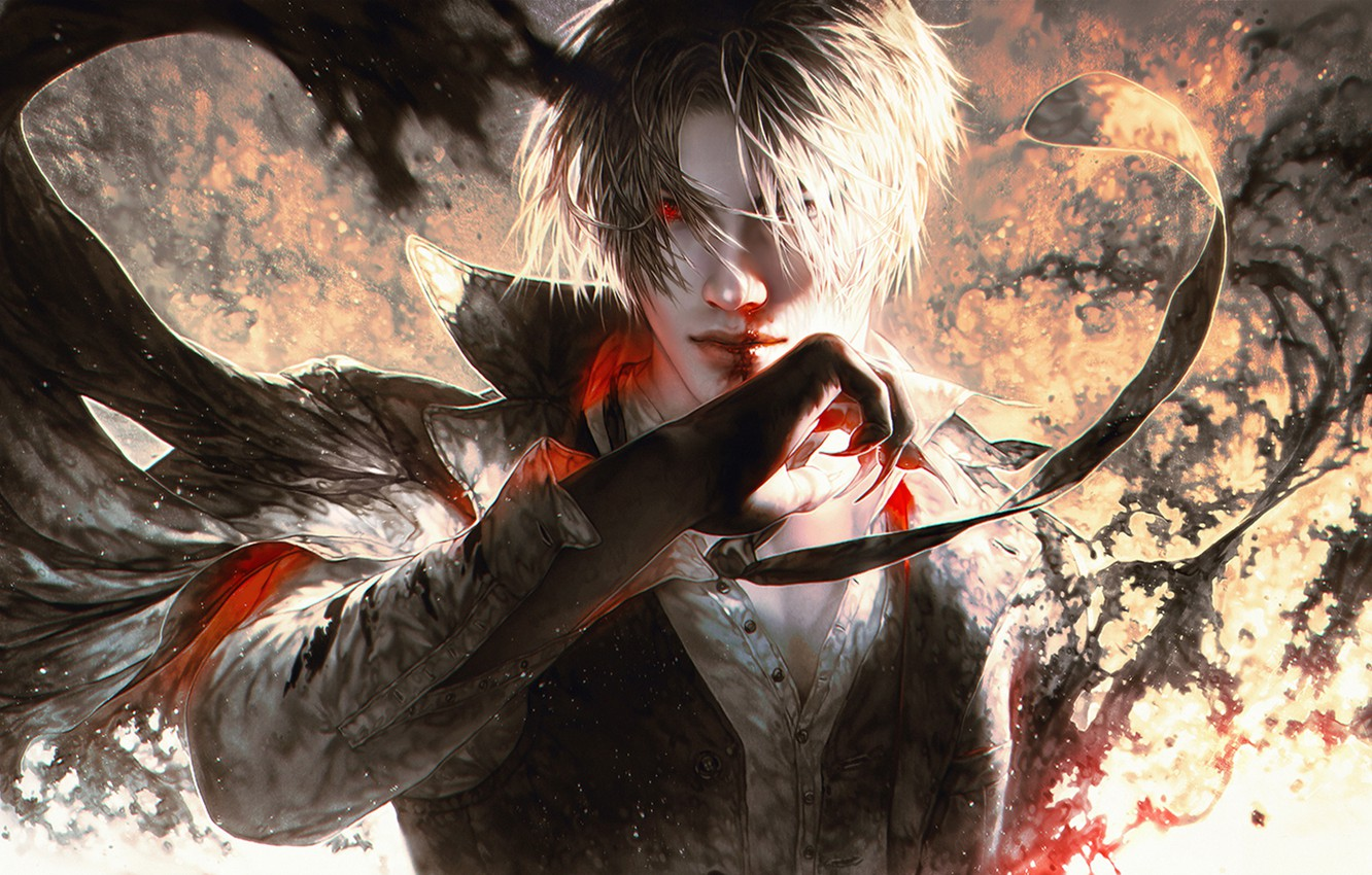 Photo wallpaper blood, hand, demon, male, guy, anime, art