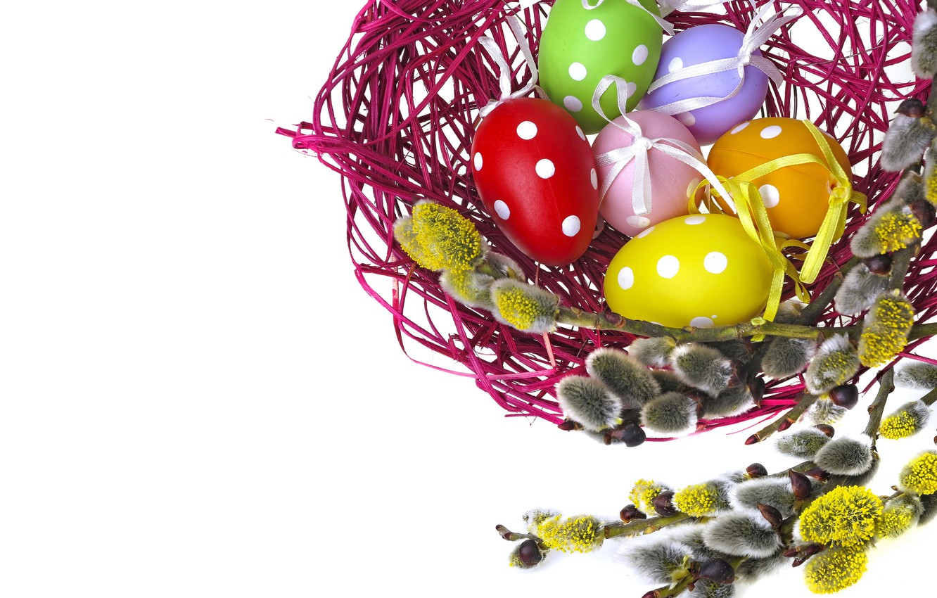 Photo wallpaper eggs, colorful, Easter, Verba, eggs, easter, willow twig