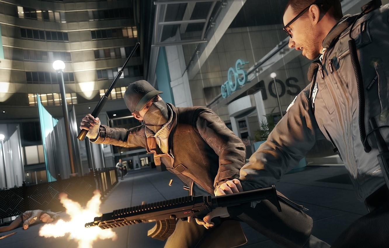 Photo wallpaper gun, street, fight, cap, lane, Ubisoft, watch dogs