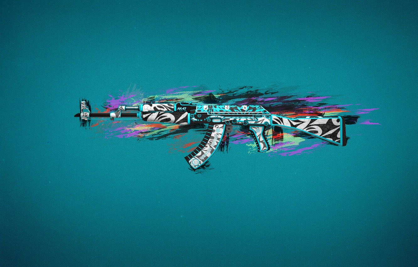 Wallpaper Line Spot Blue Background Ak 47 Paint Cs Go