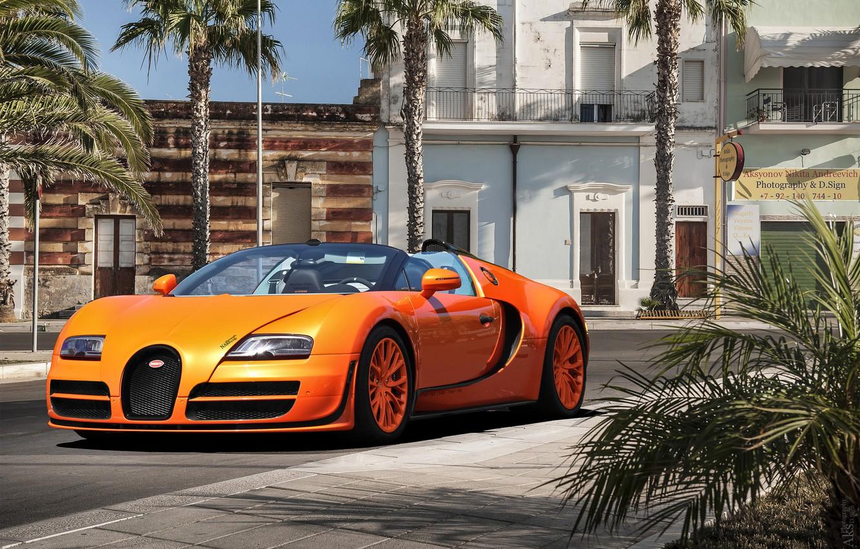 Photo wallpaper orange, palm trees, Bugatti, Veyron, Bugatti, the front, Veyron, Vitesse, Gierke
