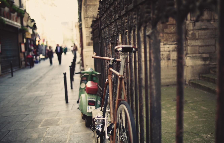 Photo wallpaper road, bike, street, the fence, fence