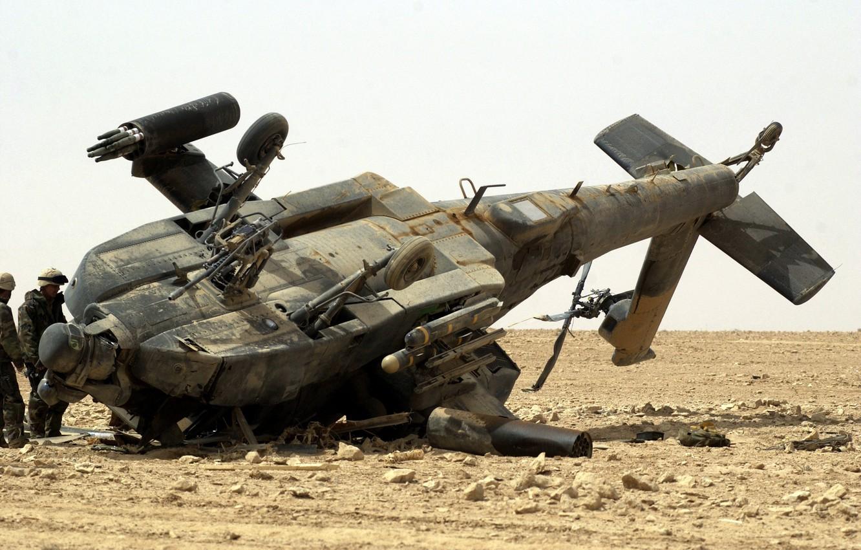 Photo wallpaper the crash, Iraq, AH-64 Apache, pustina