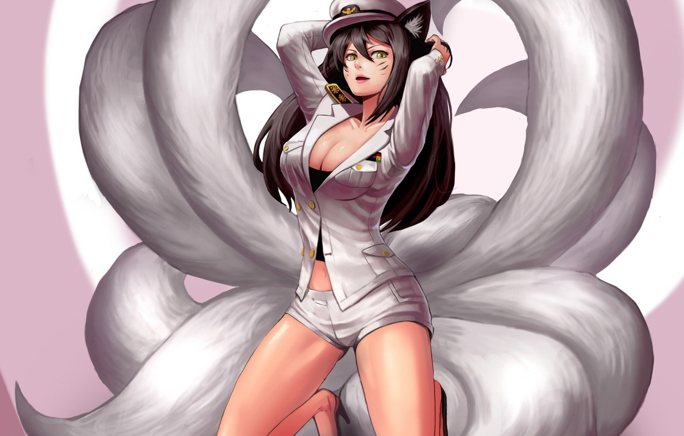Photo wallpaper chest, look, girl, form, ears, art, Fox, league of legends, tails, ahri, goomrrat