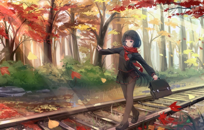 Photo wallpaper autumn, leaves, girl, trees, the way, anime, art, form, schoolgirl, kikivi