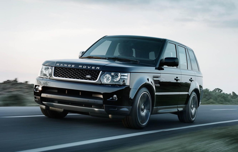Photo wallpaper road, the sky, black, Sport, jeep, Land Rover, Range Rover, the front, Sport, Range Rover, …
