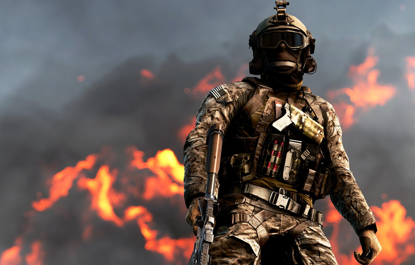 Wallpaper The Sky Clouds Fire Soldiers Battlefield Attack