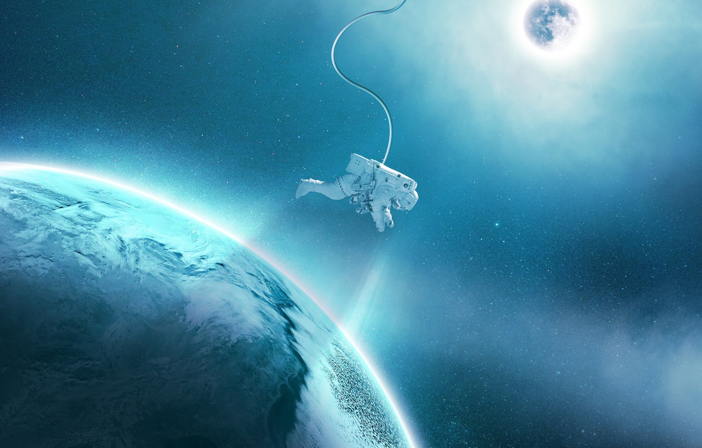 Photo wallpaper space, stars, light, blue, planet, satellite, astronaut, the suit, orbit, astronaut