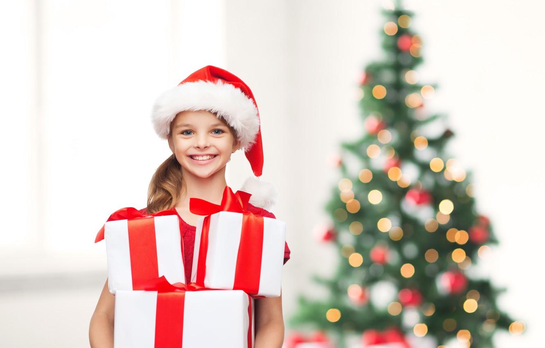 Wallpaper children tree child girl gifts New year happy