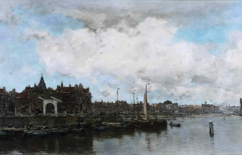 Photo wallpaper sea, the sky, landscape, clouds, the city, river, home, picture, boats, port, sail, promenade, Jacob …