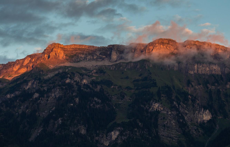 Photo wallpaper clouds, trees, sunset, rocks, Mountains, Switzerland, Ringgenberg, Roteflue, Ringgenberg