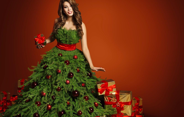 Photo wallpaper girl, New Year, Balls, Dress, Tree, Brown hair, Bow, Gifts