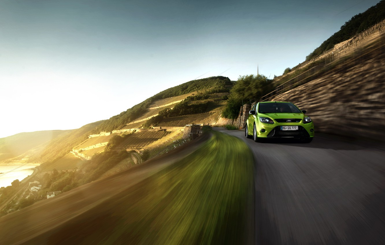 Photo wallpaper road, Ford, in motion, Ford Focus RS