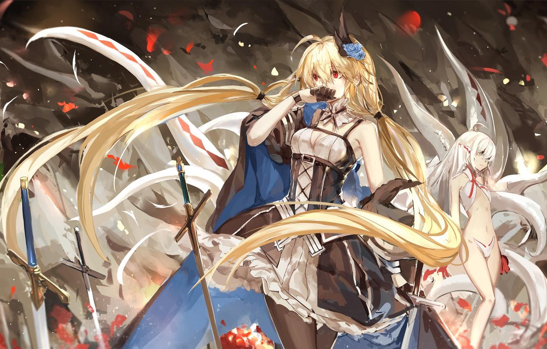 Photo wallpaper flowers, smile, weapons, girls, anime, petals, art, swords, pixiv fantasia, saberiii, army chief