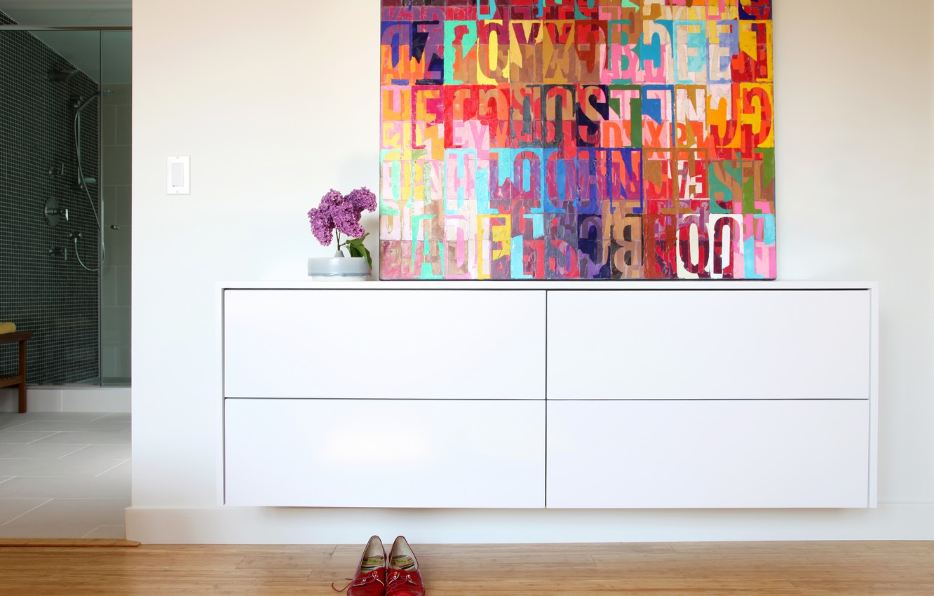 Photo wallpaper room, shoes, picture, lilac