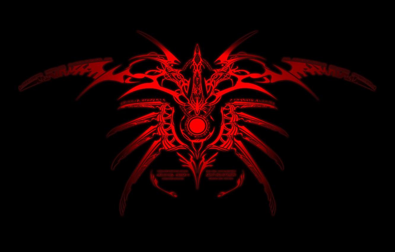 Photo wallpaper red, black, pattern, ornament, symbol