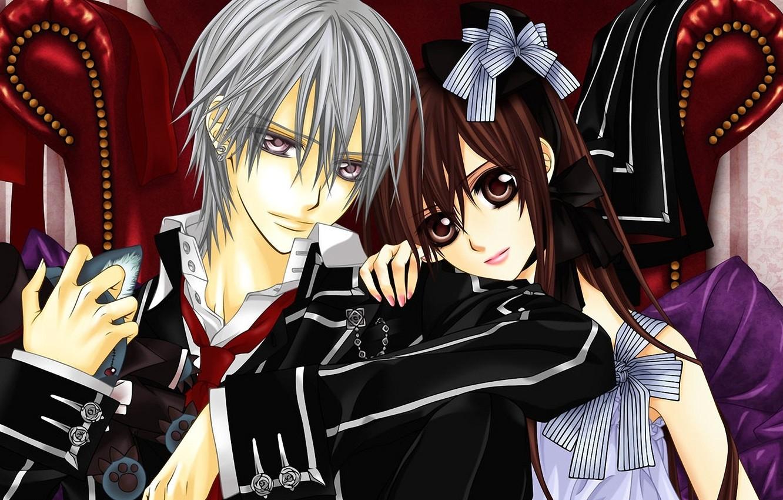Photo wallpaper girl, toy, chair, form, guy, vampire knight, Yuki cross, zero Kiryu