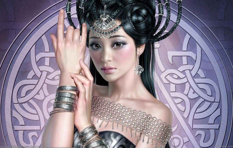 Photo wallpaper girl, decoration, pattern, hand, art, hairstyle, tang yuehui, Asian, bracelets, braids