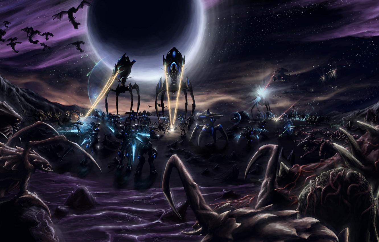 Photo wallpaper war, lasers, starcraft 2, Zerg, Protos, Templar