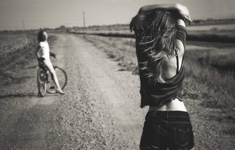 Photo wallpaper road, summer, bike, girls, shorts