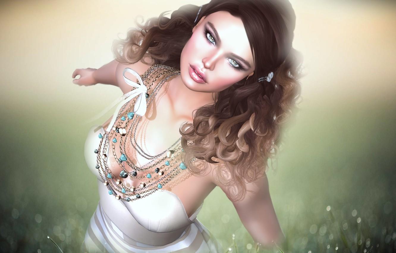 Photo wallpaper eyes, look, face, background, hair, Girl, curls
