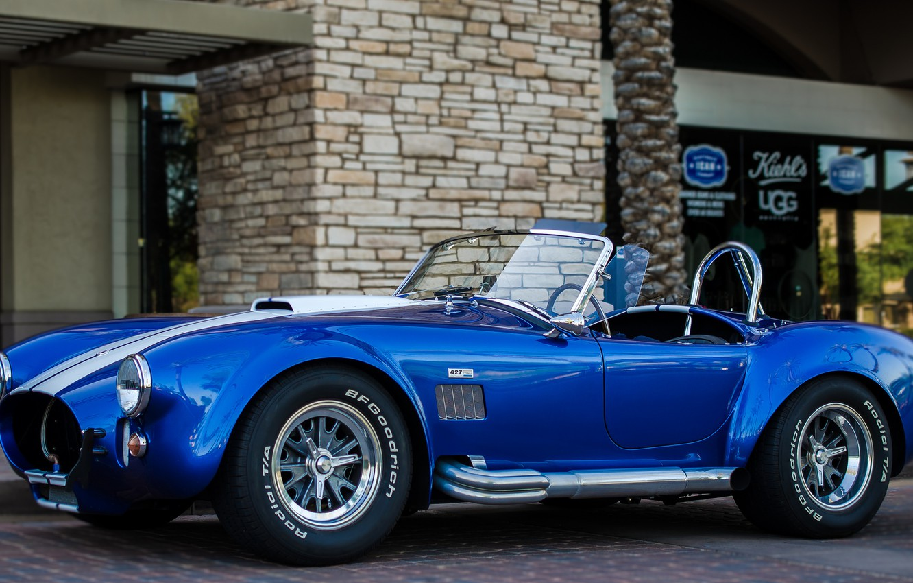 Photo wallpaper Shelby, Blue, Front, Cobra, Building, 427
