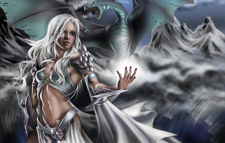 Wallpaper Dragon Daenerys Targaryen Girl Game Of Thrones Art