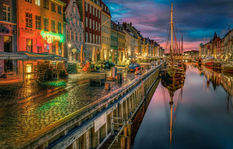 Photo wallpaper ships, Denmark, channel, promenade, Denmark, Copenhagen, Copenhagen, New Harbor
