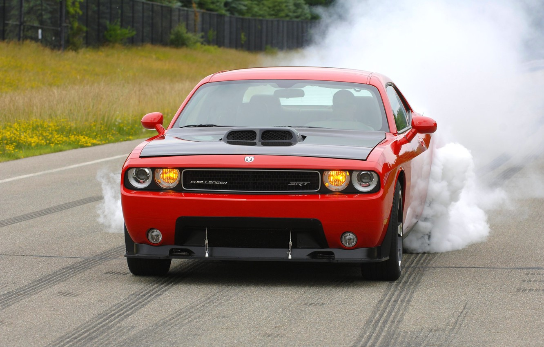 Photo wallpaper Red, Smoke, Machine, Dodge, Asphalt, Dodge, SRT8, Challenger, Lights, The front